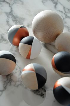 """Here's some I made earlier."" Hand painted wooden balls/baubles by obsessilicious"