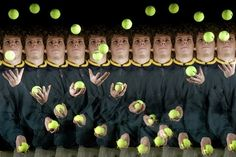 Stop-motion by John Gribbin, wsj:  A stroboscopic multiple-exposure photograph of a man juggling three tennis balls reveals their trajectories over time from right to left. The parabola traced by a ball tossed in the air and pulled back downward by gravity illustrates a core idea in classical physics known as the 'principle of least action.' Edward Kinsman/ Science Photo Library  #Photography #Physics #Juggler