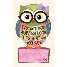 Tween Girl Art, Owl art, Nerd Owl. Home Decor, Inspirational Art, art... ($16) ❤ liked on Polyvore