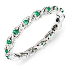 Sterling Silver Stackable Expressions Created Emerald Ring -