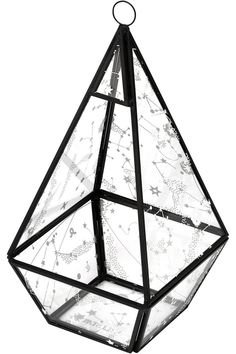 Ethereal Pyramid Terrarium [B] | KILLSTAR Beautiful statement terrarium - will display all your treasures, magical items and crystals beautifully. Amazing craftsmanship; pyramid-shape with black metal construction, clear glass walls with constellation print - loop top if you prefer to display it hanging.