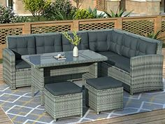Rattan Furniture Set, Wicker Sofa, Outdoor Furniture Sets, Sectional Furniture, Sectional Sofas, Ottoman Table, Outdoor Sectional, Sofa Set, Land Scape