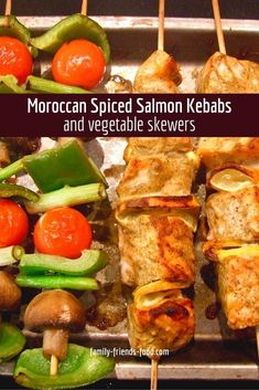 Moroccan spiced salmon kebabs and vegetable skewers. Marinated in yogurt and spices, these delicious salmon kebabs are cooked to perfection. Tasty vegetable skewers are the perfect accompaniment.  #salmon #kebabs #easyrecipe #fish #tasty #deliciousfood #kabobs Recipe Using Salmon, Quick Salmon Recipes, Summer Recipes, Shellfish Recipes, Seafood Recipes, Salmon Skewers, Vegetable Skewers, Ras El Hanout, How To Cook Fish