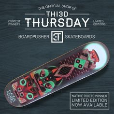 "The winner for the Native Roots THI3D THURSDAY Skateboard Design Contest was designed by South African artist Nena Maree. Nena was ""inspired by Native American art/design and totem poles and a vinyl sticker I saw on a car bumper once."" She will be receiving a skateboard with her design printed on it, $100, and ""Native Roots"" is now featured alongside other winners in the BoardPusher THI3D THURSDAY shop where a limited edition of 10 boards with this graphic will be available."
