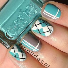 Argyle print and abstract stripes nail art - Colours Used- Essie: Where's my Chauffeur..... | @Manal Maz Maz Maz Maz Shaikh  Webstagram