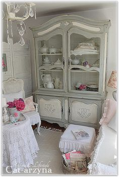 Shabby Chic- lovely armoire or cupboard..