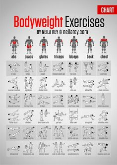 No excuse to not work each muscle group out now...no equipment, no  problem!