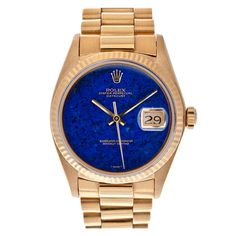 ROLEX Extra-Fine Lapis Lazuli Dial Yellow Gold Oyster Datejust