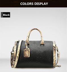 Serpentine Genuine Leather Handbag, Duffel