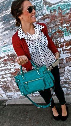 Polka dot shirt red cardigan black jeans-- I'm not bold enough for the blue bag. Give me black.