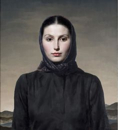 Woman in Black - thought to be a portrait of Miss Sheila van Damm by Gerald Brockhurst (English, 1890-1978) Oil on canvas | 27 x 24 inches
