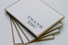 Classic Thank You Cards in White. $5.99, via Etsy.