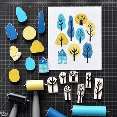 Trees Block Print Pattern by Andrea Lauren (Andrea Lauren), . Trees Block Print Pattern by Andrea Lauren (Andrea Lauren), Stamp Printing, Printing On Fabric, Screen Printing, Lino Print Artists, Atelier Theme, Eraser Stamp, Stamp Carving, Handmade Stamps, Linocut Prints