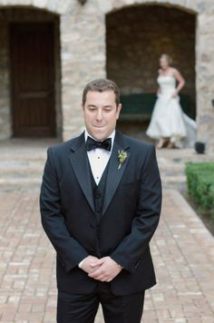 love this groom's face in anticipation of the First Look  Photography by http://theweaverhouse.com
