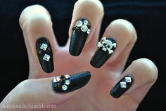 Black leather nails with skull and crystals by Jenn's Nails