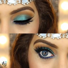 Teal Blue/ Green eye makeup eyeshadow look created using the Urban Decay Urban Spectrum Palette. House of Lashes in the style Iconic Anastasia Dipbrow pomade in chocolate Jaclyn Hill Champagne Pop