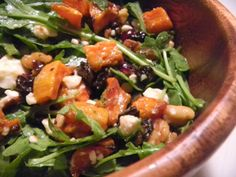 Roasted Butternut Squash Salad Recipe Salads with butternut squash, walnut halves, dried cranberries, balsamic vinegar, olive oil, maple syrup