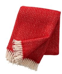 Klippan Stella Red Lambs Wool Throw, designed by Birgitta Bengtsson Bjork for Klippan, has a stunning diamond weave.