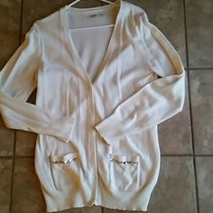 Cream cardigan with silver sequin line pockets Cream cardigan with silver sequin line pockets.  Worn once. Old Navy Sweaters Cardigans
