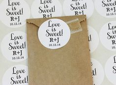 Love is Sweet Stickers Wedding Favor Stickers by MailboxHappiness, $5.00