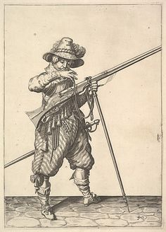 A soldier blowing on a match, from the Musketeers series, plate 40, in Wapenhandelinghe van Roers Musquetten Ende Spiessen (The Exercise of Arms) Jacques de Gheyn II (Netherlandish, Antwerp 1565–1629 The Hague)
