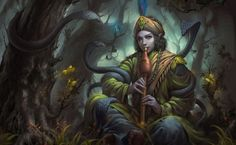 Elf boy playing to forest creatures HD Wallpaper