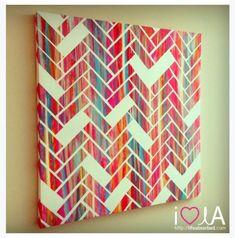 DIY Herringbone canvas pattern... doing it!