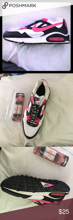 Black white & pink Niki Air with logo. Barely worn Barely worn pair of Nike air shoes can send black plain thicker laces with them if you want. They're size Y7 which I'm pretty sure is a child's size but I got them for an event where I needed pink and they fit my 8.5 foot just perfectly and no one could tell they weren't adult. They're in perfect condition only worn two or three times and in an indoor facility. Nike Shoes Athletic Shoes