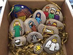 similar to Nativity story stones on Etsy, . Items similar to Nativity story stones on Etsy, Items similar to Nativity story stones on Etsy, Nativity story stones The Nativity Story, Nativity Crafts, Holiday Crafts, Nativity Scenes, Christmas Rock, A Christmas Story, Christmas Ornaments, Christmas Bells, Felt Ornaments