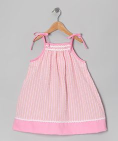 Take a look at this Pink Seersucker Swing Dress - Infant & Toddler by Petit Pomme on #zulily today!