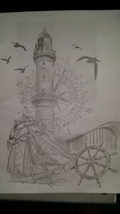 Traditional ship tattoo rough sketch by ranz - Leuchtturm tattoo bedeutung ...