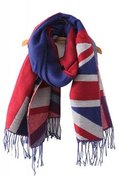 London Calling! Red White and Blue Union Jack Contrast Color Fashion Tassel Long Winter Scarf #Union_Jack #Winter #Scarf #Fashion #Acessories