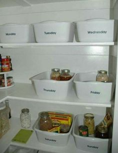 7 bins for each day of week for meal planning.