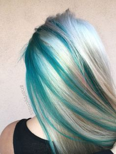 Teal turquoise blonde platinum  mermaid hair #olaplex #mermaidhair