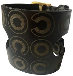cc71df005 Chanel Black Coco Logo X-large Gold Buckles Leather Cuff W/Orig. Box