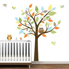 Children Nursery Wall Decals Vinyl Wall Art-Tree with Owls birds. $99.00, via Etsy.