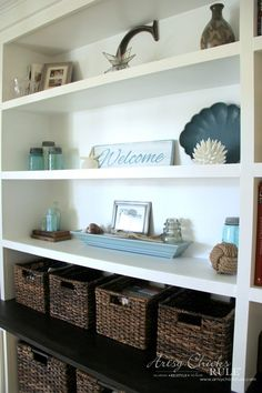 DIY Built-In Bookcase Wall - Baskets from Target - artsychicksrule #bookcase #diy