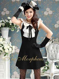 Morpheus Boutique  - Black White Celebrity Layer Lace Ruffle Bow Dress, $99.99 (http://www.morpheusboutique.com/products/black-white-celebrity-layer-lace-ruffle-bow-dress.html)