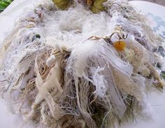 Shabby Chic nest.  I love these knitted nests.  Beautiful !