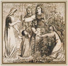 Dante's Vision of Matilda gathering flowers, Dante Gabriel Rossetti