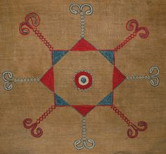 Detail: British Museum, Beving collection C19th. ,Af1934,0307.218. Embroidered decoration on strip woven cloth.