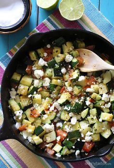 Skillet Mexican Zucchini - incredibly delicious with a little bit of a Mexican kick from the jalapeno, lime juice, cilantro and melted queso blanco. I might get tim to eat zucchini this way? Mexican Food Recipes, Vegetarian Recipes, Cooking Recipes, Healthy Recipes, Vegetarian Dish, Skillet Recipes, Ketogenic Recipes, Shrimp Recipes, Delicious Recipes
