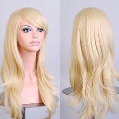 UQ Perruque pour Femme Longue 70cm Bouclée avec Frange de Côté Naturel Cosplay Blonde