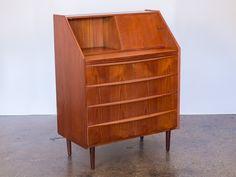 Vintage Teak Danish Modern Secretary Dresser with Pull Out Desk