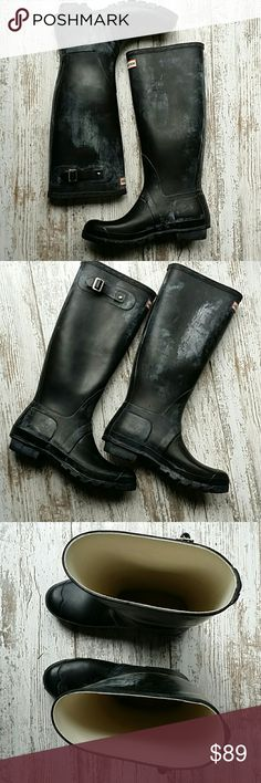 💕HOST PICK!!  Size 9 Hunter original rainboots *matte finish with light gray distressing   *adjustable side buckles  *very minimal wear  *sorry, no trades Hunter Boots Shoes Winter & Rain Boots