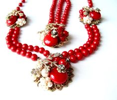 Signed Miriam Haskell Statement Necklace Bracelet Jewelry Set Designer Lipstick Red Showstopper