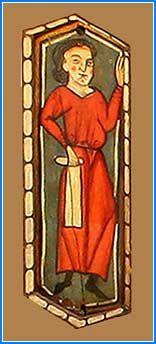 La primera tabica de la línea superior representa a un hombre vestido con túnica roja que sujeta un rollo que podría ser un pergamino, en parte extendido, en la mano derecha, mientras mantiene la izquierda en alto.