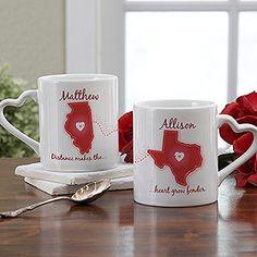 Long Distance Love Personalized Mug Set