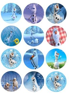 Olaf cupcake topper of with pictures of this popular character form Froen