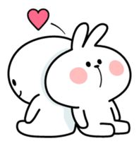 A lot of affection of Spoiled Rabbit. Cute Love Memes, Cute Love Pictures, Cute Love Gif, Cute Cartoon Images, Cute Cartoon Wallpapers, Funny Stickman, Cute Bear Drawings, Love Stickers, Cute Anime Couples